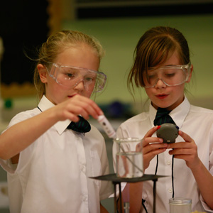 Young students in science class